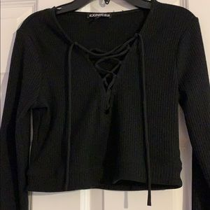 NWT Express Black Lace-Up Crop Top